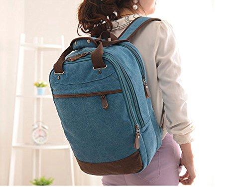 Minetom Unisex Grande Capacità Canvas Borsa Laptop Zaino Coreano Retro Zaini Sacchetto Campeggio Camminata Alpinismo Blu