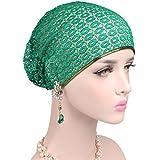 Women Fashion And Elegant Lace Hat Beanie Head Wrap Cap Chemo Beanie Hat (Green)
