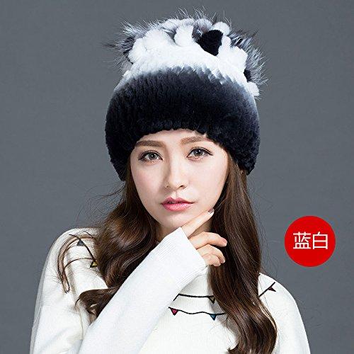 BTBTAV*Winter und Fell Gras hat Stricken web gewebt, Hüte und stilvolle Kaninchen Haar dicke warme grid Cap , weiss (Up Dressing Disney Kleidung)