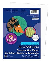 Pacon Sunworks Construction Paper, 9-inches By 12-inches, 50-count, Bright White (8703)