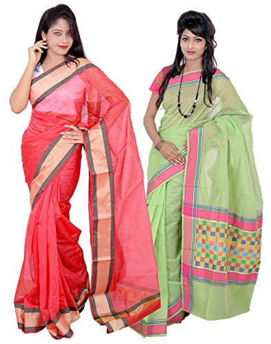 Banarasi Silk Works Elegant Red and Green Super Net Cotton Embroidered Combo...