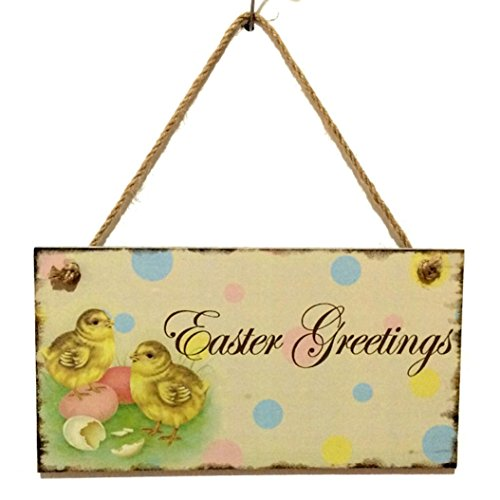DIKEWANG Easter Home Decoration Garden Wooden Easter Hanging Board Festival Wall Door Decor Sign Hanger for Home Shop