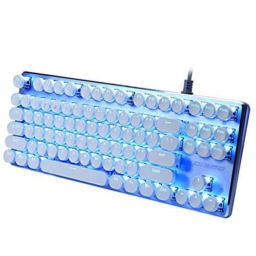 Schreibmaschine Retro Mechanische Gaming Tastatur (87Key LED Blau Schalter Hintergrundbeleuchtung mit Clicky Rund Tastenkappen für Tippen und Gaming
