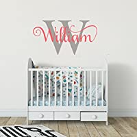 Personalised Wall Art Sticker Girls Boys Unisex Baby Nursery Bedroom Any Name Text Initial Monogram Kids Childrens Custom Decal Mural Vinyl Room Decor