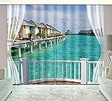 HONGYZCL Digitaler Vorhang des Küstengebäudes 3D Passend Für Hauptschlafzimmerwohnzimmer,300Cm(W)×270Cm(H)
