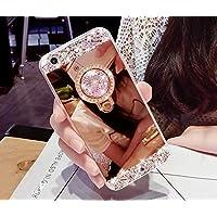 Artfeel Glitzer Spiegel Hülle für Samsung Galaxy Note 9, Bling Glänzend Diamant Strass mit Ring Halter Ständer Handyhülle,Ultra Dünn klar Weich Silikon Make Up Spiegel Hülle-Rose Gold
