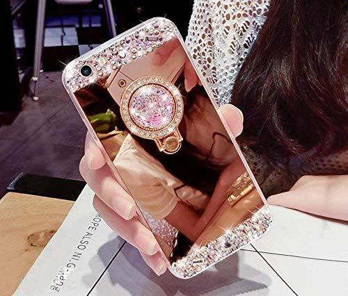 Artfeel Glitzer Spiegel Hülle für iPhone XS,iPhone X Hülle, Bling Glänzend Diamant Strass mit Ring Halter Ständer Handyhülle,Ultra Dünn klar Weich Silikon Make Up Spiegel Hülle-Rose Gold (Iphone Schmuck)