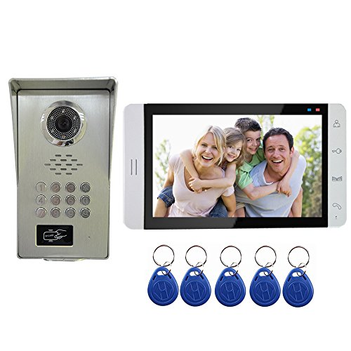 AMOCAM Video Door Phone System, A Full Aluminum Alloy IR Night Vision Camera, 7 LCD Monitor, Wired Video Intercom Doorbell Kits, Halterung RFID Keyfobs, Code Password Unlock, Monitoring, Intercom