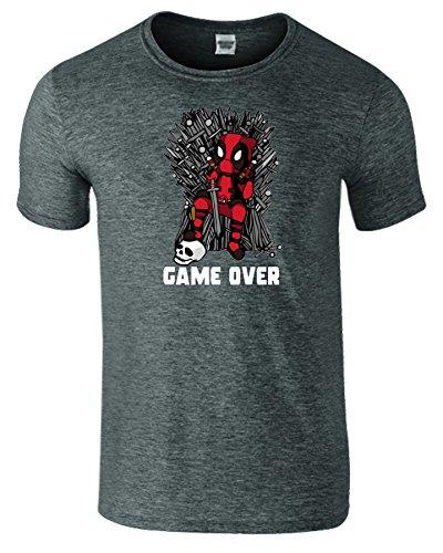 Deadpool Herren Thrones Parodie Spiel Zu Ende Kinder T-Shirt Dunkelgrau Meliert