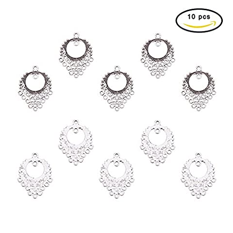 Pandahall 10pcs Tibetan Style Flat Round Chandelier Components Antique Silver, about 34x 25.5x 1mm, hole: 1mm