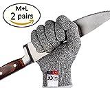 liketo Schnittfest Handschuhe–high Performance Level 5Schutz, Lebensmittelqualität, Küche Safty, Outdoor Yard Arbeit, Arbeit Schutz anti-cutting Schutz Handschuhe, 2Paar (M + L)