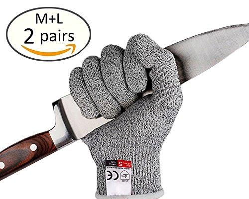 andschuhe–high Performance Level 5Schutz, Lebensmittelqualität, Küche Safty, Outdoor Yard Arbeit, Arbeit Schutz anti-cutting Schutz Handschuhe, 2Paar (M + L) (Leder-arbeits-handschuhe Größe Klein)
