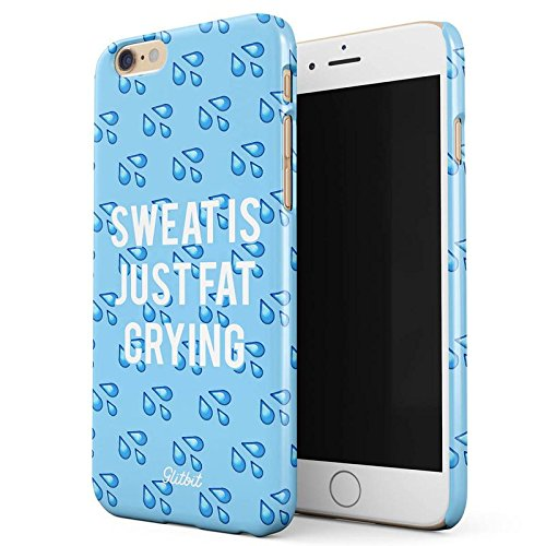 Glitbit Workout Fintess Junkie Addict Gym Motivational Cute Emojis Squats Peach Allenarsi Sportivi Sport Sottile Guscio Resistente In Plastica Dura Custodia Protettiva Per iPhone 7 / 8 Case Cover Sweat Is Just Fat Crying