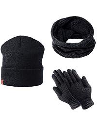 TAGVO Tricotés Ensemble d hiver Bonnet écharpe gants d écran tactile 3 en 1 6e751e84483