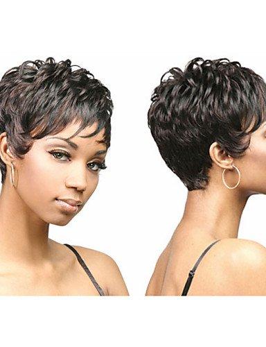 Perruque & xzl Perruques Fashion pixie coupé chic et synthétiques perruques afro-américain pour les femmes à court ondulé cheveux perruques avec frange