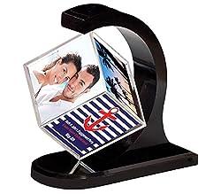 Happy GiftMart Rotating Photo Frame 360 Degree Floating Photo Cube Frame [Black]