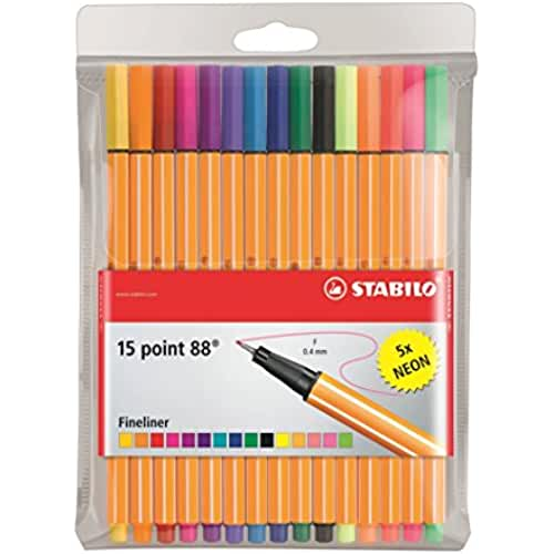 mas dibujos kawaii STABILO point 88 - Rotulador punta fina - Estuche con 15 colores