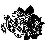 Tortue hibiscus autocollant stickers 8 Taille : 8 cm Couleur : noir