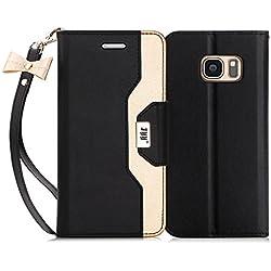 FYY Etui Coque pour Samsung Galaxy S7, étui en Cuir PU de première qualité avec Miroir cosmétique et Sangle en Noeud intégré pour Samsung Galaxy S7 Noir + Or