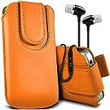 (Orange + Kopfhörer) Huawei Ascend Y550 Protective Faux magnetischer Knopf Pull Tab Pouch Case Hülle Mit in Earbuds Stereo Hands Free Kopfhörer Headset mit Mikrofon Mic und On-Off-Knopf von Fone-Gehäuse eingebaut