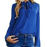 Tefamore Donne Magliette Casuali Delle Camicette Della Del Collo Del Rivestimento Del Manicotto Camicia (M, blu)