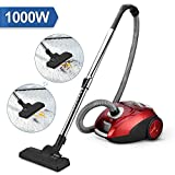 AGM Cylinder Vacuum Cleaner, Bagged Cylinder Powerful Compact Lightweight Corded 1000W Vacuum Cleaner