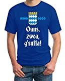 Oktoberfest Wiesn Outfit Herren Shirt - Oans, zwoa, g'suffa! T-Shirt X-Large Blau