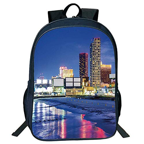 HOJJP Schultasche Stylish Unisex School Students Black City,Resort Casinos on Shore at Night Atlantic City Jersey United States,Violet Blue Pink Yellow Kids,