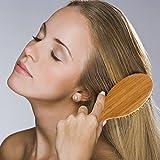Comaie® Airbag Massage Holz Haarbürste handgefertigt natur Kamm Kämme für Anti statische Schuppen Kopfhaut Gesundheit Air Haarbürste Massagegerät Bursh groß massiv Kissen Friseur verkohlten Bambus