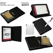 Spartechnik - Funda con función atril y función de hibernación automática para Sony PRS-T3 (incluye protector de pantalla y lápiz capacitivo), color negro