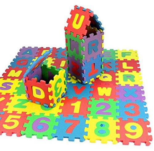 Elyseesen 36Pcs Puzzle tapis mousse bébé alphabet et chiffres