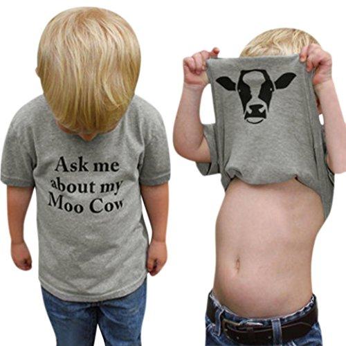MCYs Kinder Baby Mädchen Jungen Kuh Innen Brief Kurzarm Weiche Oberteile Nette T-Shirt Kleidung (4Jahre, Grau)