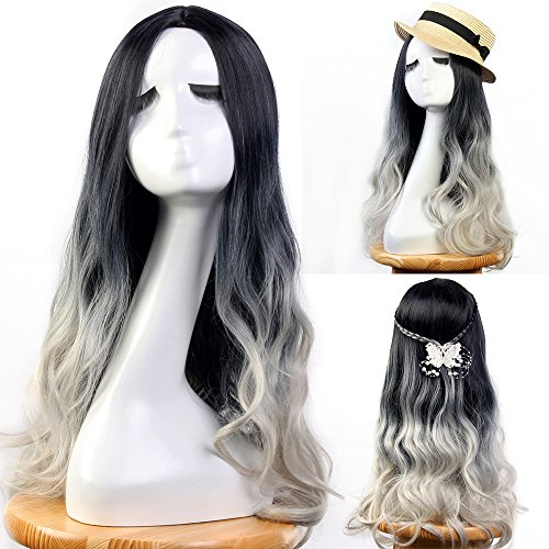 Schwarze Perücken Frauen (Neverland Perücken für Frauen 60cm Schwarz Grau Ombre Haarverlängerungen Elegante Mittelteil Pretty Perücken für Frauen)