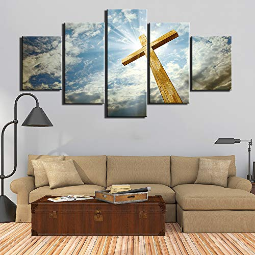 PPWYY Leinwand Gemälde Modern 5 Stück HD-Drucke Kunst Plakate Kunstwerk Wandkunst Christentum Bilder Zum Wohnzimmer Haus Dekoration,A,30×50×2+30×70×2+30×80×1