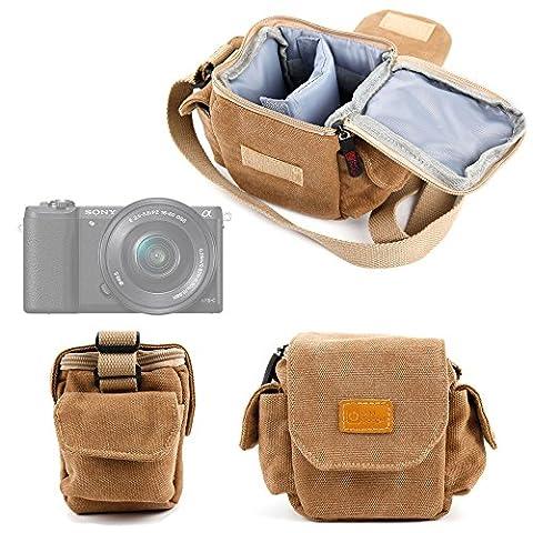 Petit étui avec bandoulière pour Nikon Coolpix P610 et L840, Canon PowerShot SX410 IS et Pentax XG-1 appareils photo Bridge NU - style vintage couleur beige/sable adaptée -