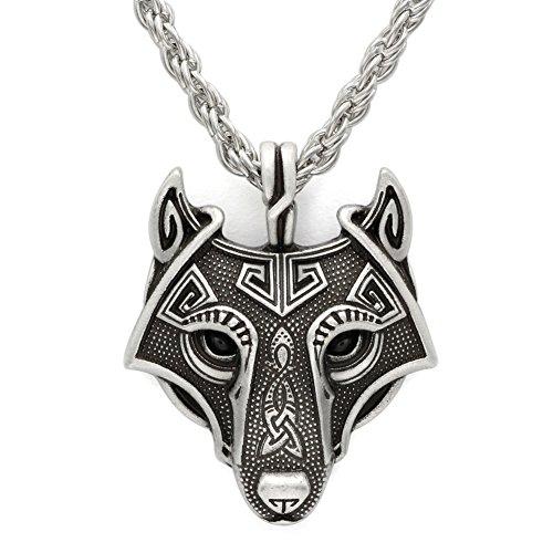Halskette mit Anhänger, handgefertigt, Antik-Silber, Wikinger-Anhänger, Wolfskopf, Metall