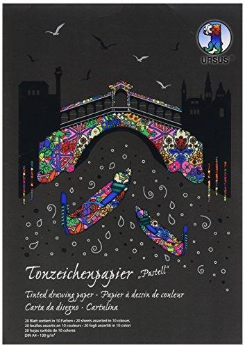 Ursus 2144699SE - Tonpapierblock A4 Sonderedition Pastell, 130 g/qm, 20 Blatt, sortiert in 10 Farben