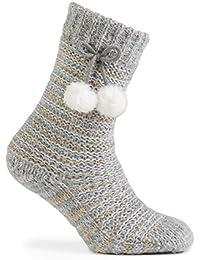 totes Ladies Fluffy Lurex Slipper Socks