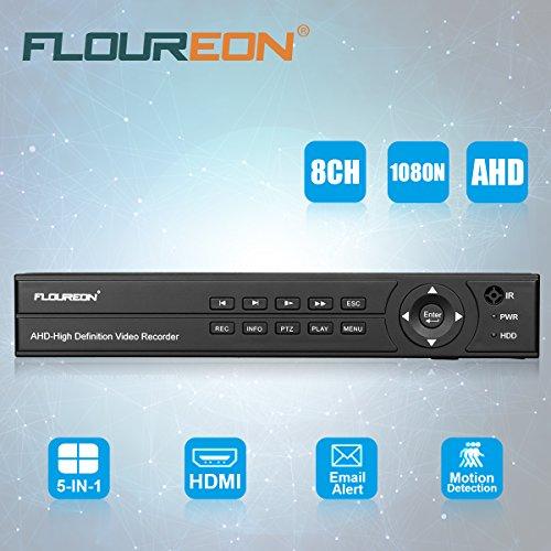 FLOUREON Enregistreur 8CH AHD DVR Vidéosurveillance 1080N HDMI H.264 CCTV Détection de Mouvement Surveiller à Distance Accès PC Smartphone Support TVI/CVI / AHD/Analogique / Caméra IP