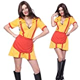 Sexy Cosplay Costume Carnevale Travestimento Halloween Fancy Dress Donna 2 Broke Girls Taglia XL