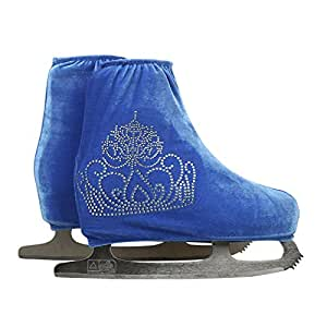 Generic rose red, S : 24 Colors Child Adult Velvet Ice Figure Skating Shoes Cover Roller Skate Fabric Accessories Sky Blue Big Crown Rhinestone