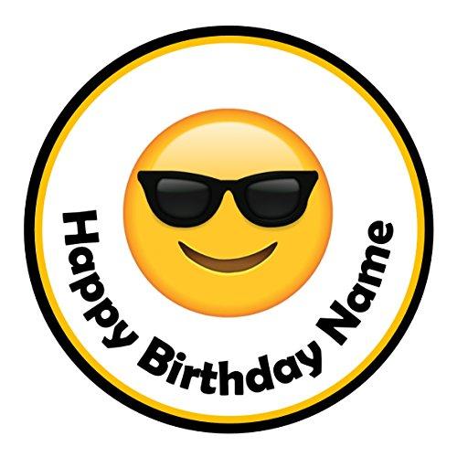 24Personalisierte Namen Kuchen Topper 4cm auf Zuckerguss-Emoji-Cool Sonnenbrille