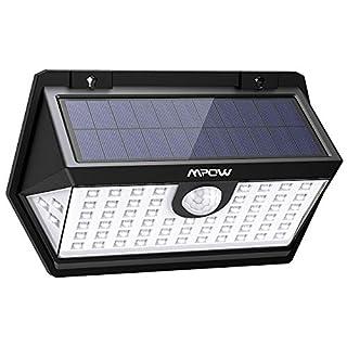 【Haute Efficience】 Mpow 63 LED Spot Solaire Extérieur, Lampe Solaire Etanche IP65 Détecteur de Mouvement 3 Modes d'éclairage 270°Grand Angle pour Maison, Jardin, Allée, Patio, Piscine,Escalier etc.