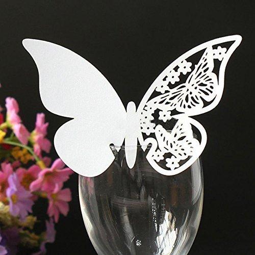 JZK® 50 PZ Perlato bianco segnabicchiere decorazioni per matrimonio compleanno battesimo comunione festa o occasioni varie, farfalle