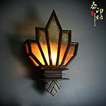 VanMe Solid Wood Wall Southeast Asia-Style Retro-Grade Decorative Lamps