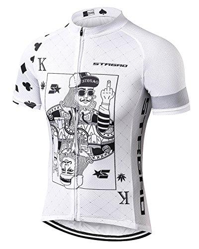 STRGAO 2017 New Sommer Herren Männer Kurze Hülse Zyklus Jersey Kurzarm Fahrradtrikot Fahrrad Hemd Fahrrad Radfahren Trikot Cycling Jersey Bike Shirt (Weiß, X-Large) -