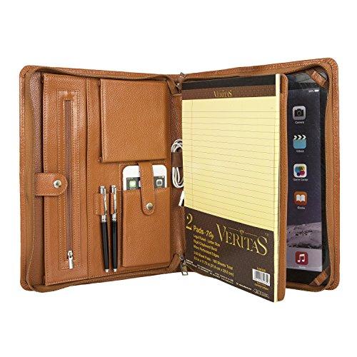 Professionelles Business Padfolio Organizer Echtes Leder Konferenzmappe mit Reißverschluss, Kompakter Portfolio Fall für iPad Pro 12.9,A4 Notebook (Braun) (Leder Laptop Personalisierte)