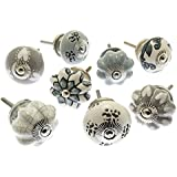 Mixed Set of Grey & White Scandi Style Ceramic Cupboard Knobs x Pack 8 (MG-700) - 'Mango Tree' TM Registered Product