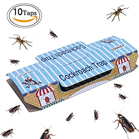 Cookey Cockroach Fallen für Haus Schädlingsbekämpfung Kill Roaches Ameisen Spinnen Und Andere Bugs Insekten Mit Köder Eingeschlossen, Nicht-Toxisch und ECO-Freundlich - 10 Pack