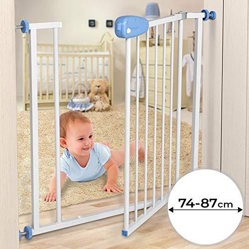 Türschutzgitter Baby Schutzgitter 74-87 cm - lackierte Stahlkonstruktion - Treppenschutzgitter, Absperrgitter, Gitter, Haustier